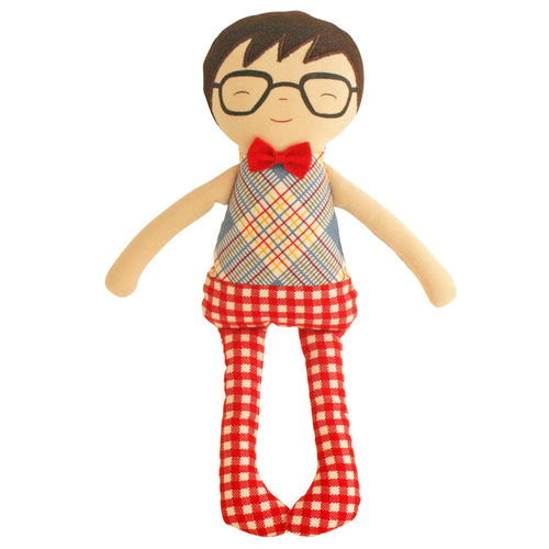 Ted Toy Rattle - Red Plaid