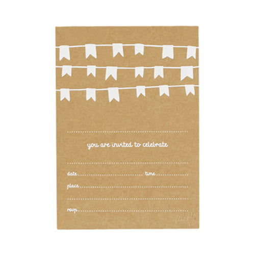 Bunting Invitations - Kraft with Matt White Foil