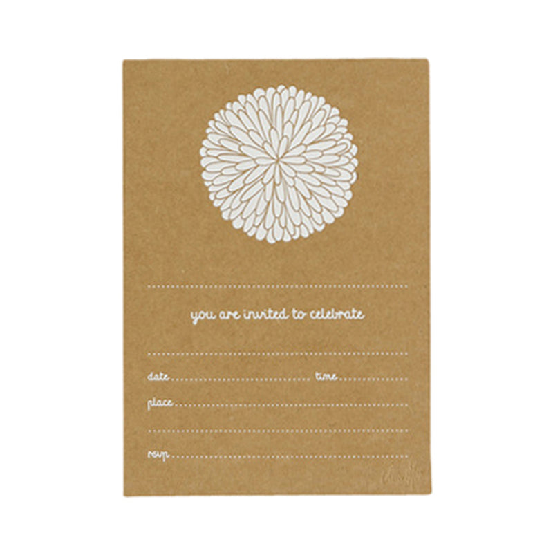 Dahlia Invitations - Kraft Paper with Matte White Foil