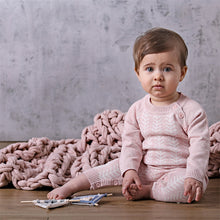 Load image into Gallery viewer, Knitted Onesie - Blush Pink/Ecru