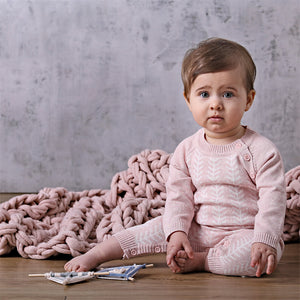 Knitted Onesie - Blush Pink/Ecru