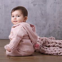 Load image into Gallery viewer, Knitted Cable Jacket With Hood - Blush Pink