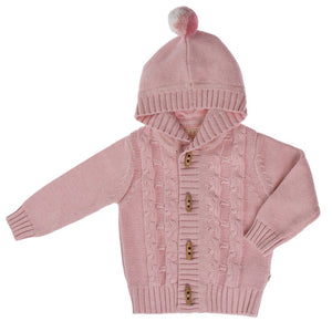 Knitted Cable Jacket With Hood - Blush Pink