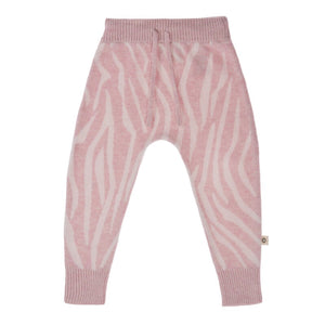 Knitted Animal Pattern Pant - Blush Pink/Ecru