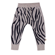 Load image into Gallery viewer, Knitted Animal Pattern Pant - Navy/Silver