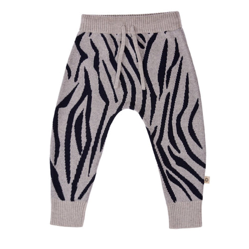 Knitted Animal Pattern Pant - Navy/Silver