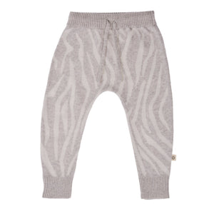 Knitted Animal Pattern Pant - Silver/Ecru