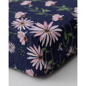 Dark Coneflower - Cotton Muslin Cot Sheet - Little Unicorn