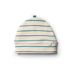 LAST ONE SIZE XXS (Premmie) Organic Stripe Beanie - Jungle Green