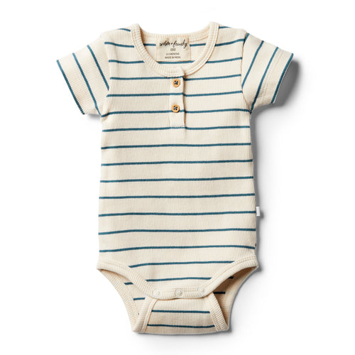 Organic Stripe Bodysuit - Jungle Green