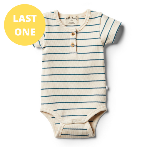LAST ONE SIZE 00000 (Premmie) Organic Stripe Bodysuit - Jungle Green