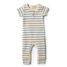 Load image into Gallery viewer, LAST ONE SIZE 00000 (Premmie) Organic Stripe Growsuit - Deep Blue