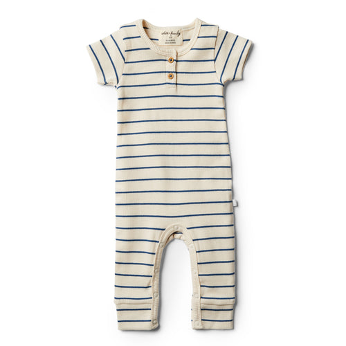 Organic Stripe Growsuit - Deep Blue