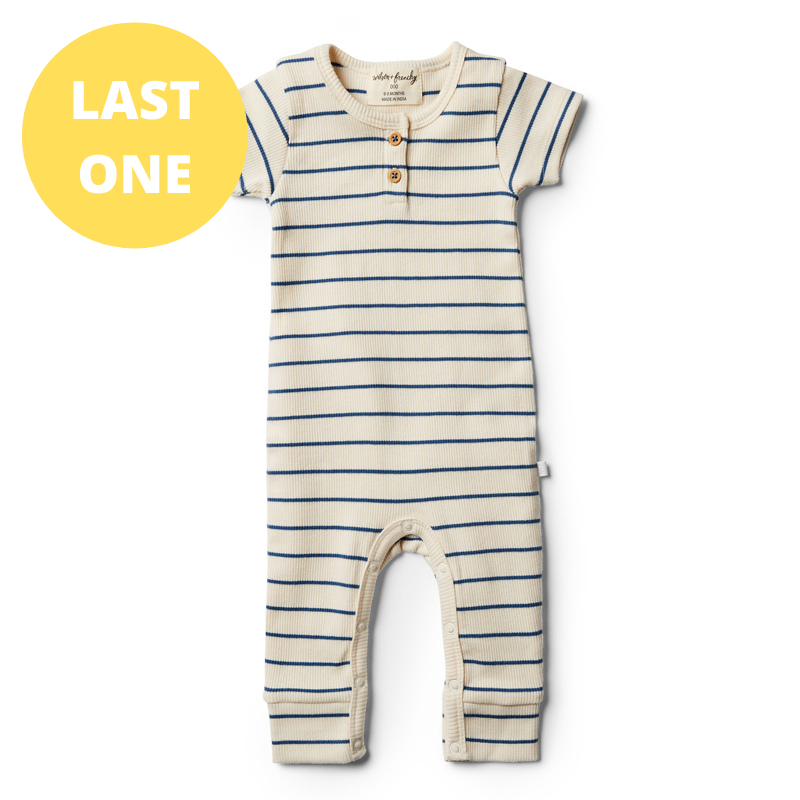 LAST ONE SIZE 00000 (Premmie) Organic Stripe Growsuit - Deep Blue