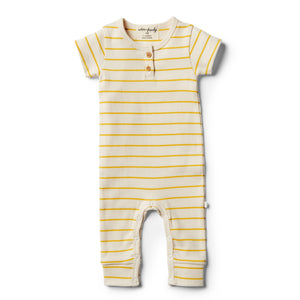 LAST ONE SIZE 00000 (Premmie) Organic Stripe Growsuit - Jojoba