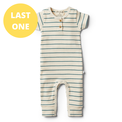 LAST ONE SIZE 00000 (Premmie) Organic Stripe Growsuit - Jungle Green
