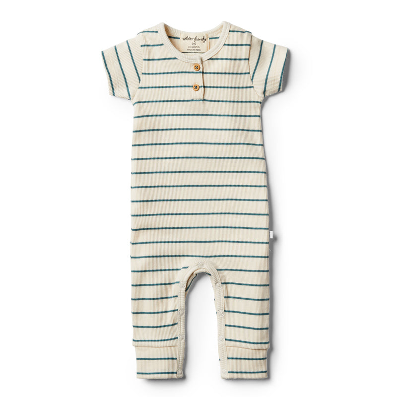 Organic Stripe Growsuit - Jungle Green