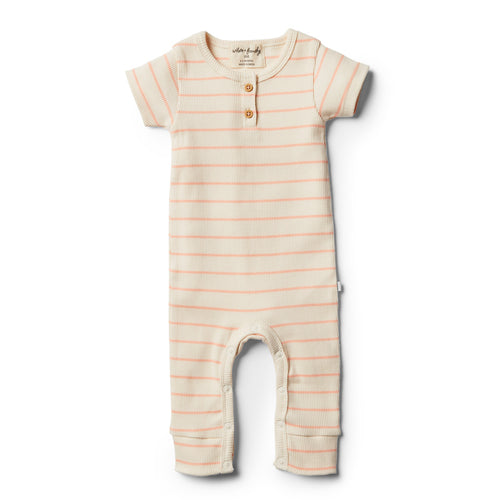 Organic Stripe Growsuit - Peach Pearl