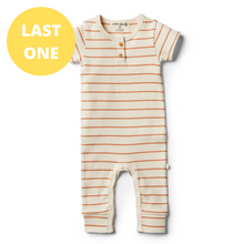 Load image into Gallery viewer, LAST ONE SIZE 00000 (Premmie) Organic Stripe Growsuit - Toasted Nut