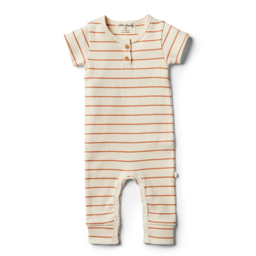 Organic Stripe Growsuit - Toasted Nut