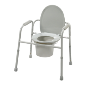 Deluxe All-In-One Welded Steel Commode w/ Plastic Armrests