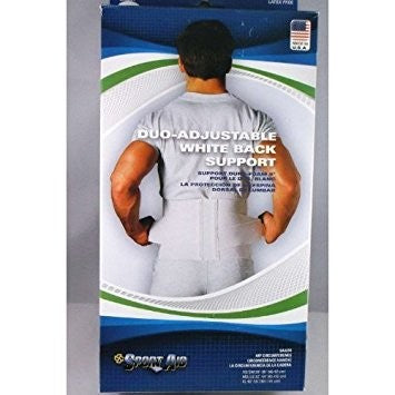 Duo-Adjustable Sportaid Back Support Belt White