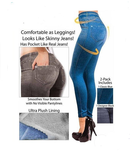 Sexy Woman Fashion Denim Like Faux Jean Skinny Pants Slim Fit Leggings