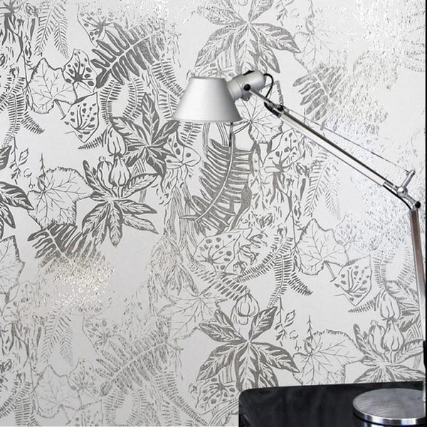 PAPIER PEINT HOTHOUSE ARGENT PANEVA ERIKA WAKERLY WALLPAPER