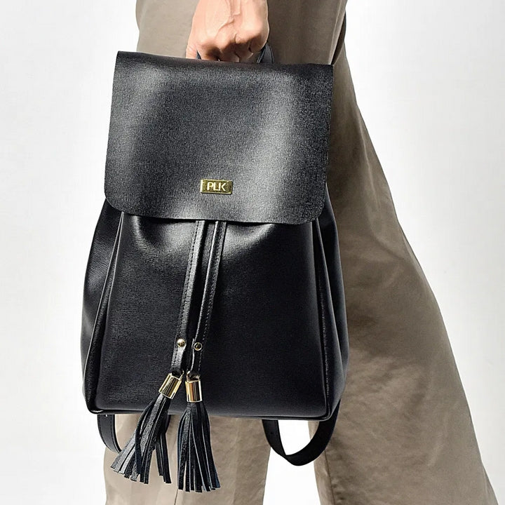 SAC A DOS NOIR EN CUIR BACKPACK PANEVA