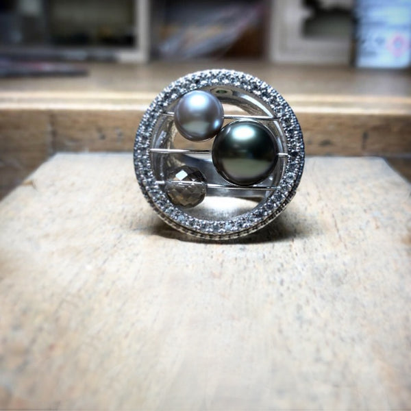 bague en argent diamant gris et perle de tahiti - collection galaxie - paneva