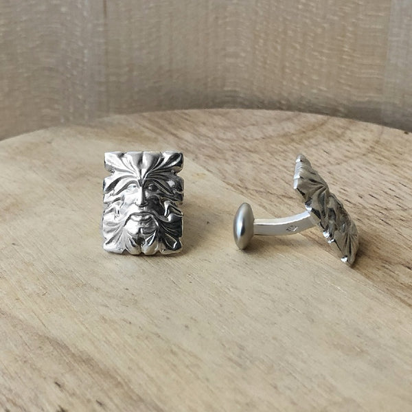 boutons de manchette en argent - collection green man - paneva