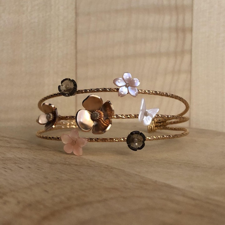 designer bracelet in vermeil and pink mother-of-pearl and smoked quartz - prairie collection