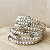 bracelet twist en perles blanche et quartz vert - collection twist - paneva