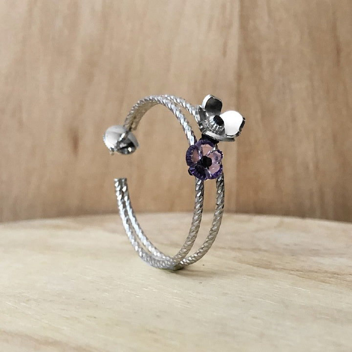 silver and amethyst earrings - prairie collection - paneva