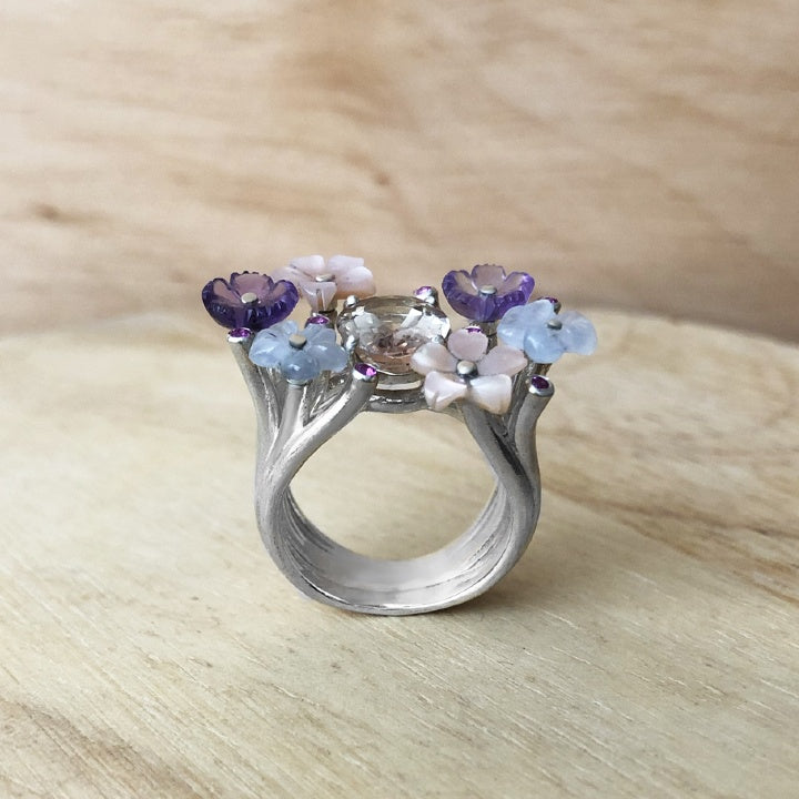 ncre and amethyst silver ring - flower of the fields collection - paneva