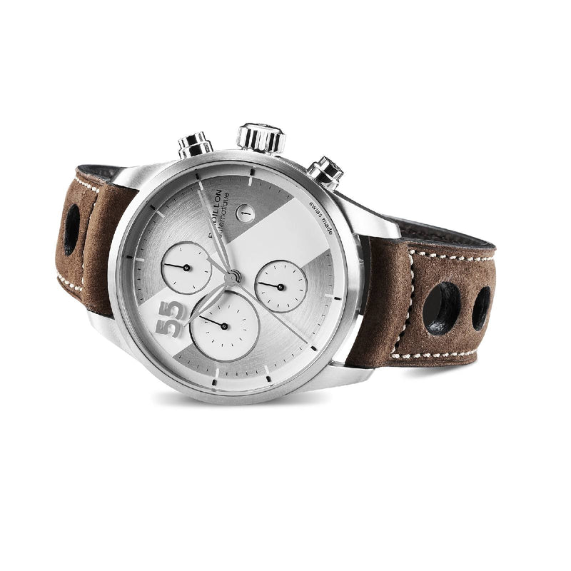 montre chronographe raidillon bracelet cuir marron avec des surpiqures beiges