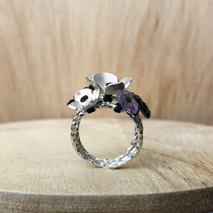 flower ring in silver and amethyst - prairie collection - paneva