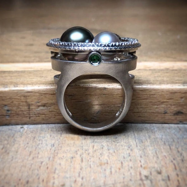 silver gray diamond and Tahitian pearl ring - galaxy collection - paneva