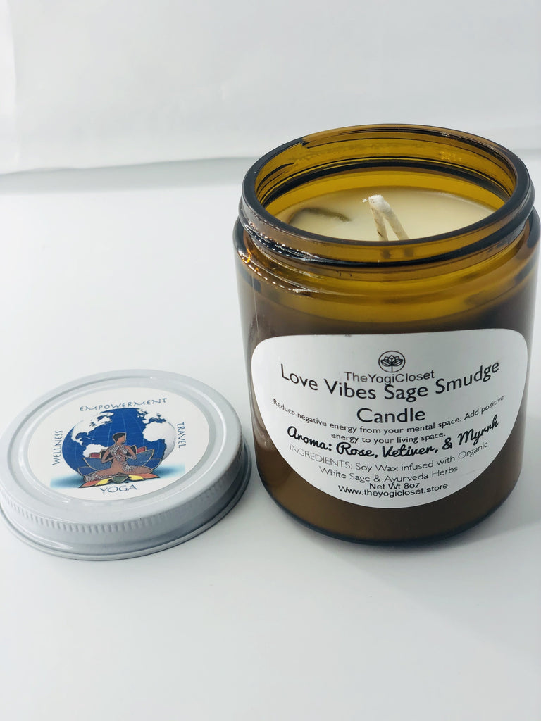 """Love Vibes"" Sage Smudge Soy Wax Candle-Natural Soy Wax Sage Smudge Candle-TheYogiCloset"