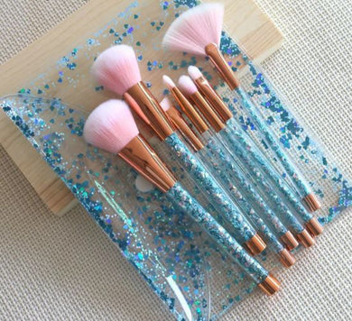 Blue Glitter Brush Set & Bag - The Beauty Vault
