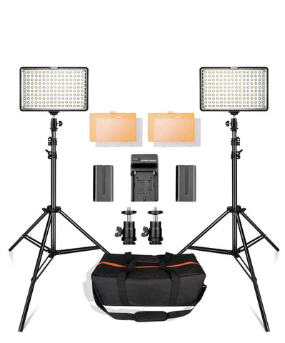LED Video Lights with Stands (BATTERY POWERED/POWER ADAPTER)