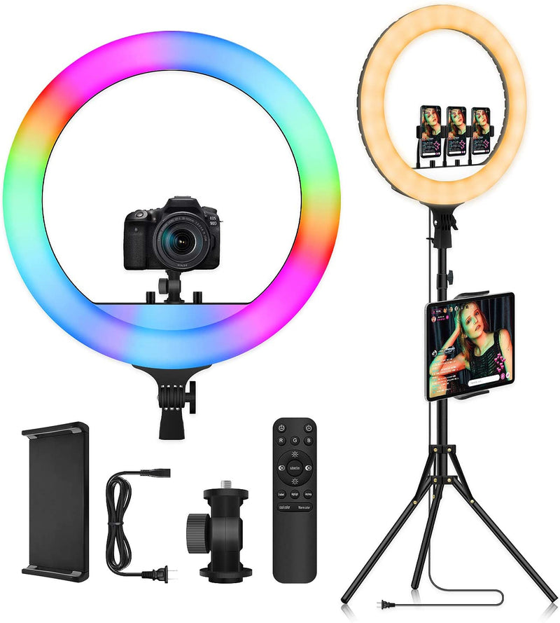 18 Inch RGB Multicolor Ring Light with Tripod Stand & iPad Holder - The Ring Light Store