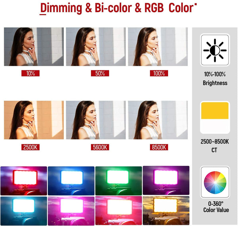 RGB Multicolored Portable LED Video Light - The Ring Light Store