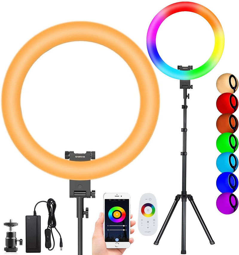 20 Inch RGB Multicolor Ring Light with Tripod Stand - The Ring Light Store