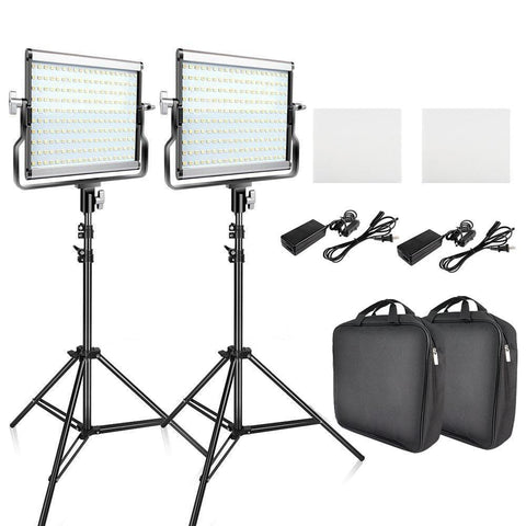 2 Sets LED Video Light Kit with Tripod 3200K-5600K - The Ring Light Store