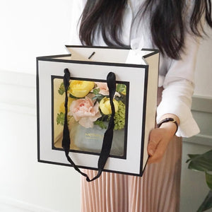 Square Bottom Handle PVC Window Gift Bag