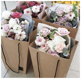 5pcs Kraft Paper Translucent Trapezoidal Bag Flower Bouquet Gift Wedding Party Favor DIY Decor Packaging Wrapping Supplies Bags