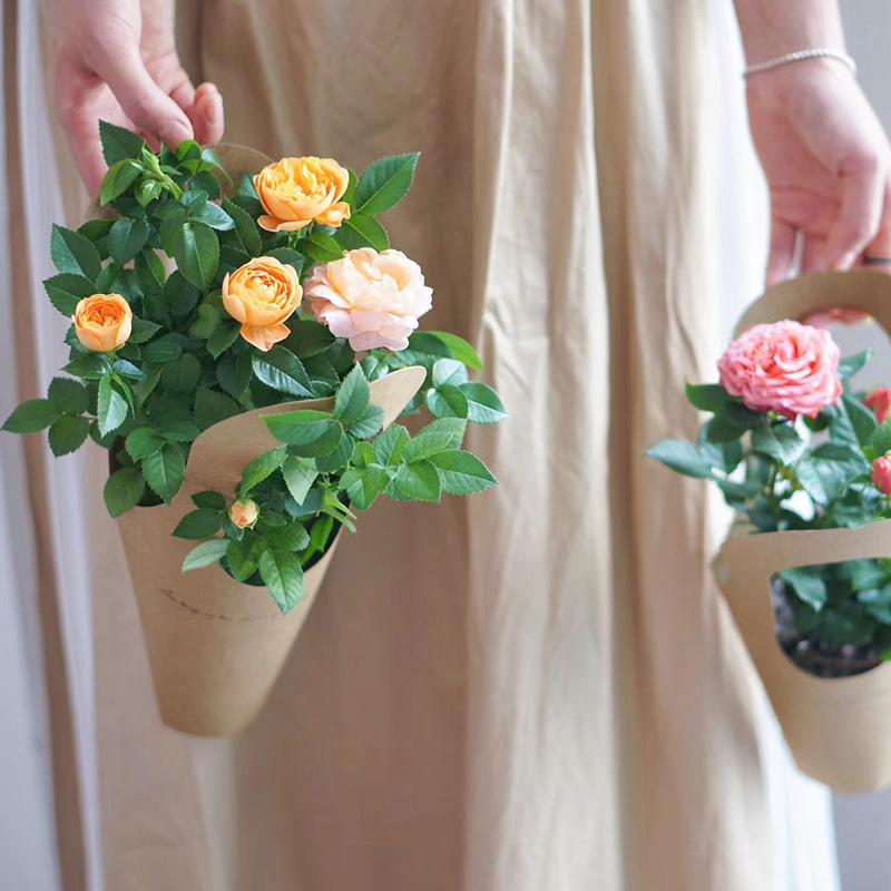 10Pcs Kraft Paper Flower Bags with Handle