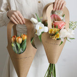 5Pcs Kraft Paper Flower Bags with Handle