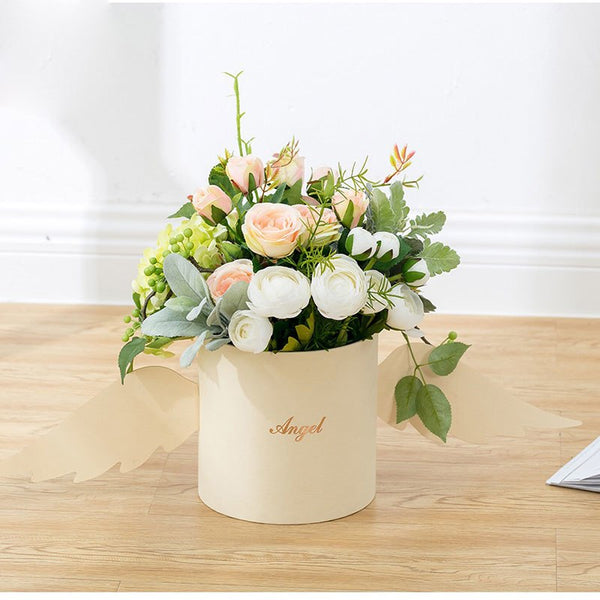 Angel Wings Flower Arrangement Box With Lid Flower Bucket Florist Bouquet Rose Boxes Floral Gift Packaging Box Wedding DIY Decor